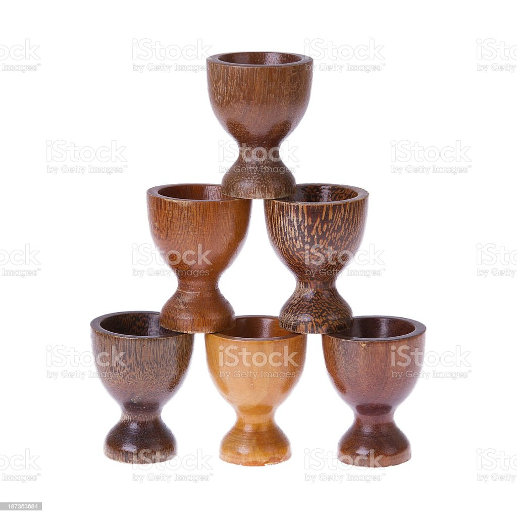 Set of different  wooden egg cups stock photo