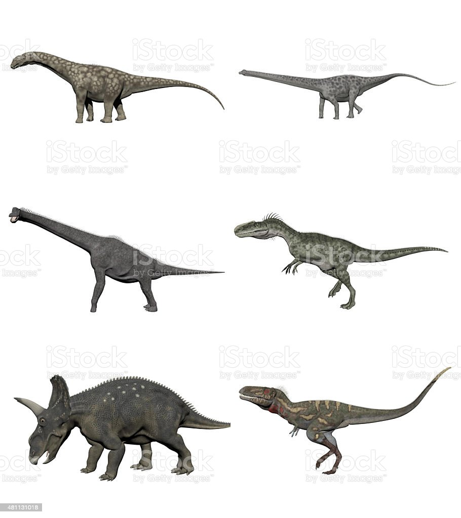 Set of dinosaurs - 3D render stock photo