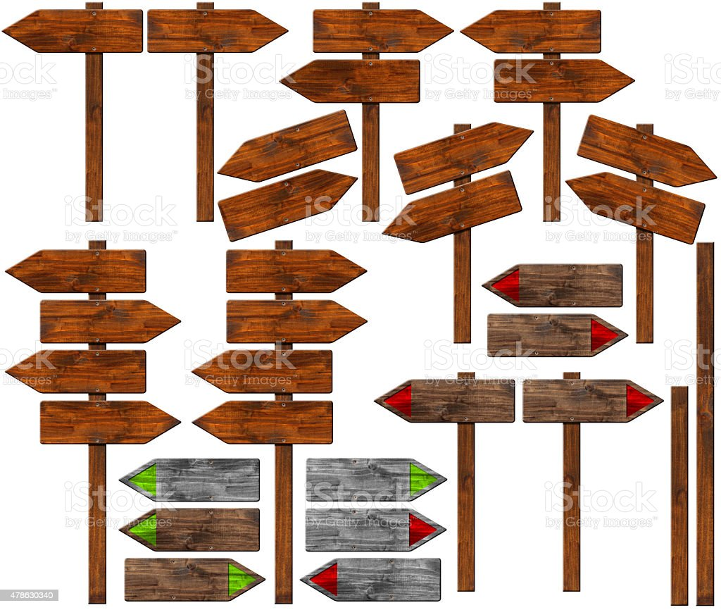 Set of Directional Wooden Signs with Pole vector art illustration