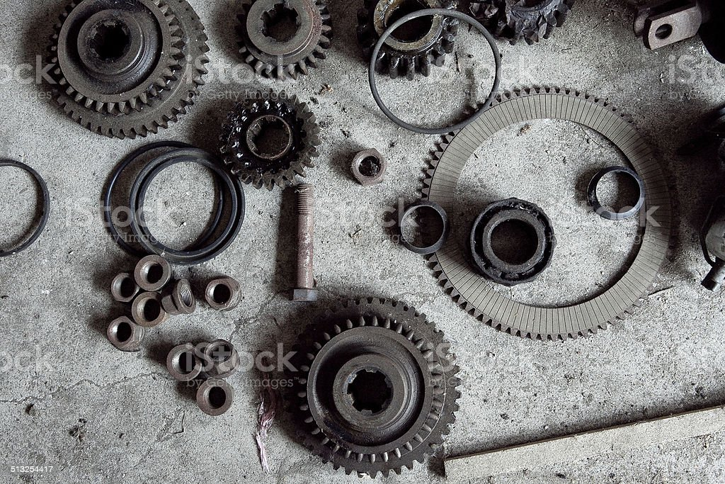 Set of dirty Gears, Screws, Nuts stock photo