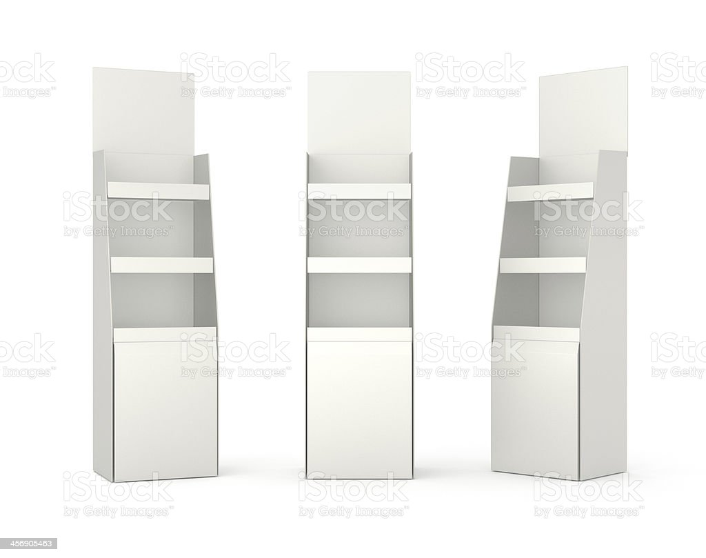 set of displays with shelves on white stock photo