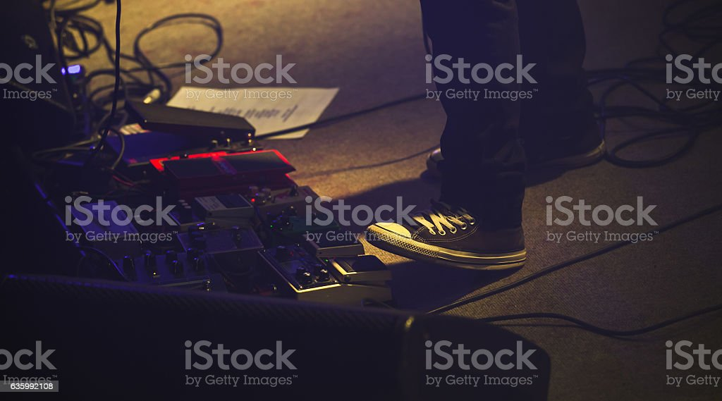 Set of distortion effect pedals stock photo