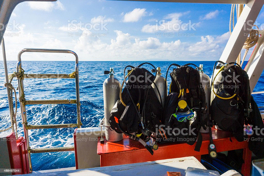 Set of diving equipment on the boat stock photo