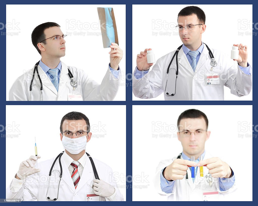 Set (collage) of doctor .Isolated royalty-free stock photo