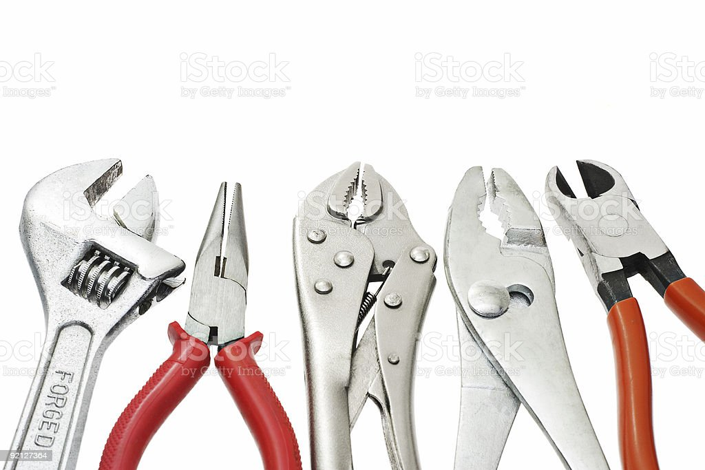 Set of do-it-yourself tools against white background royalty-free stock photo