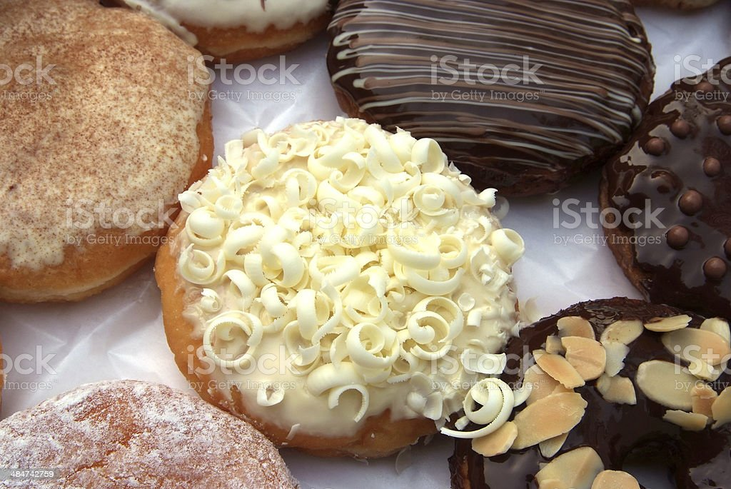 set of donuts in box stock photo