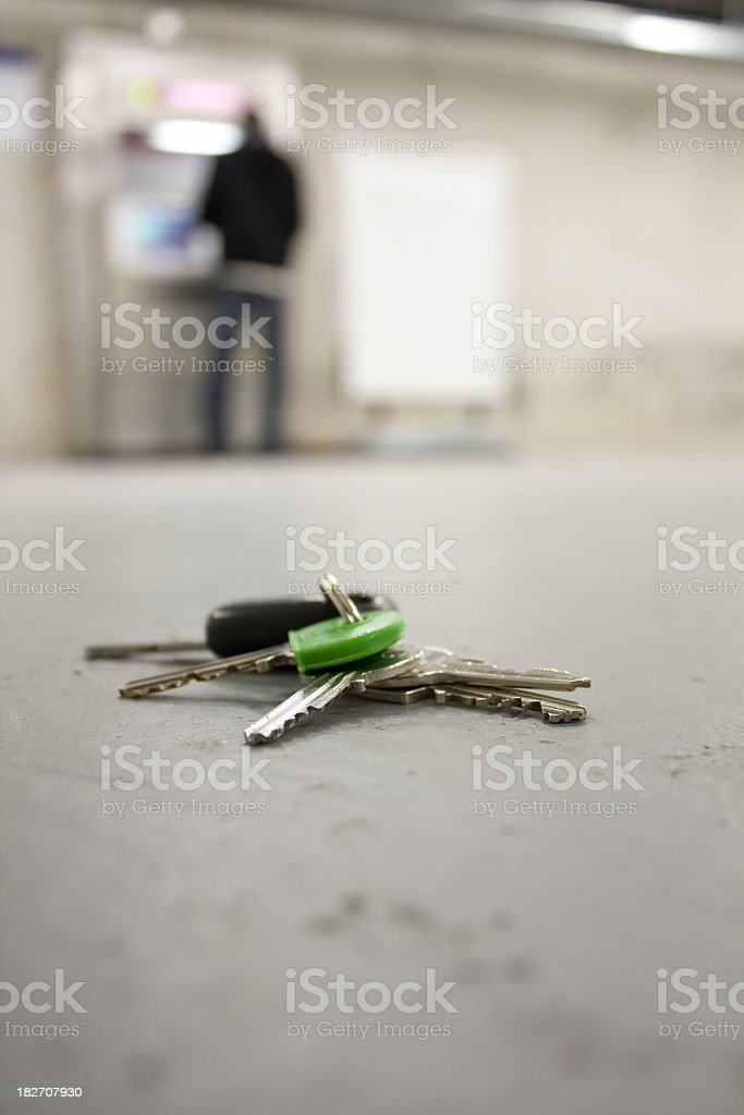 A set of dropped keys in a concourse, presumably lost stock photo