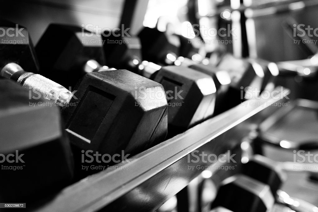 Set of dumbbells stock photo