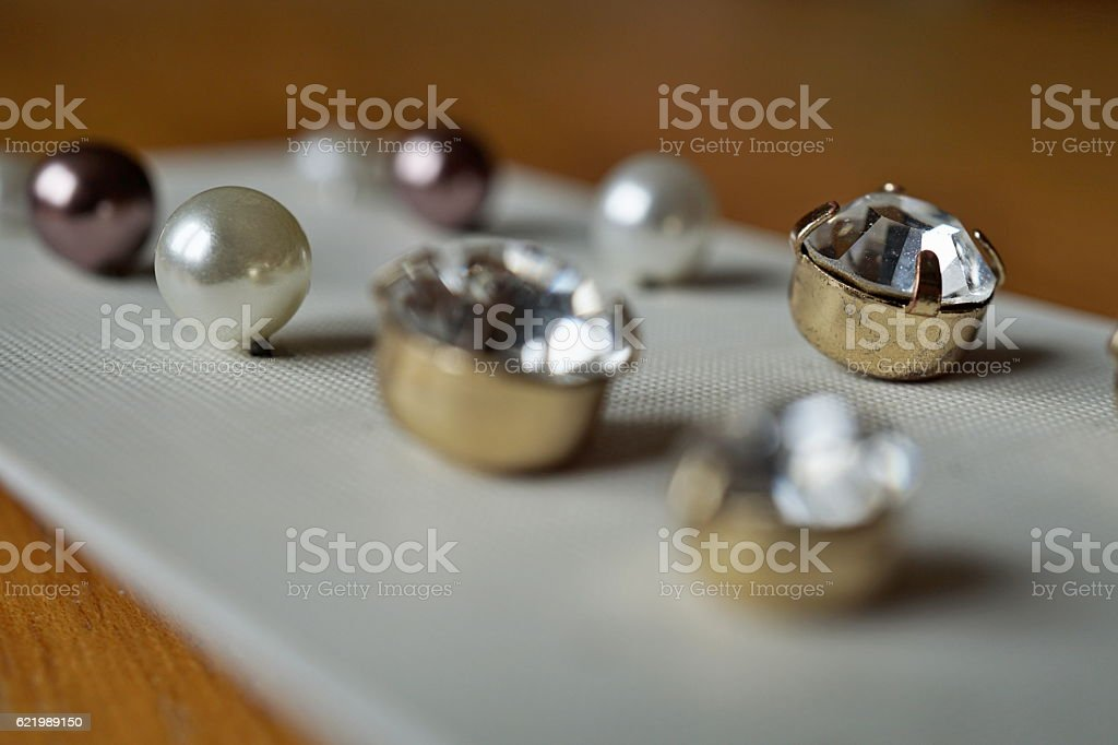 Set of earrings as a symbol of women's accessories stock photo