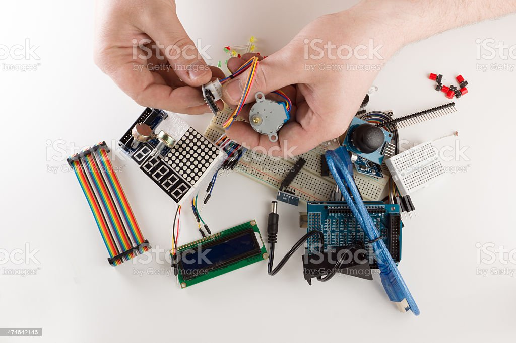 set of electronic details stock photo