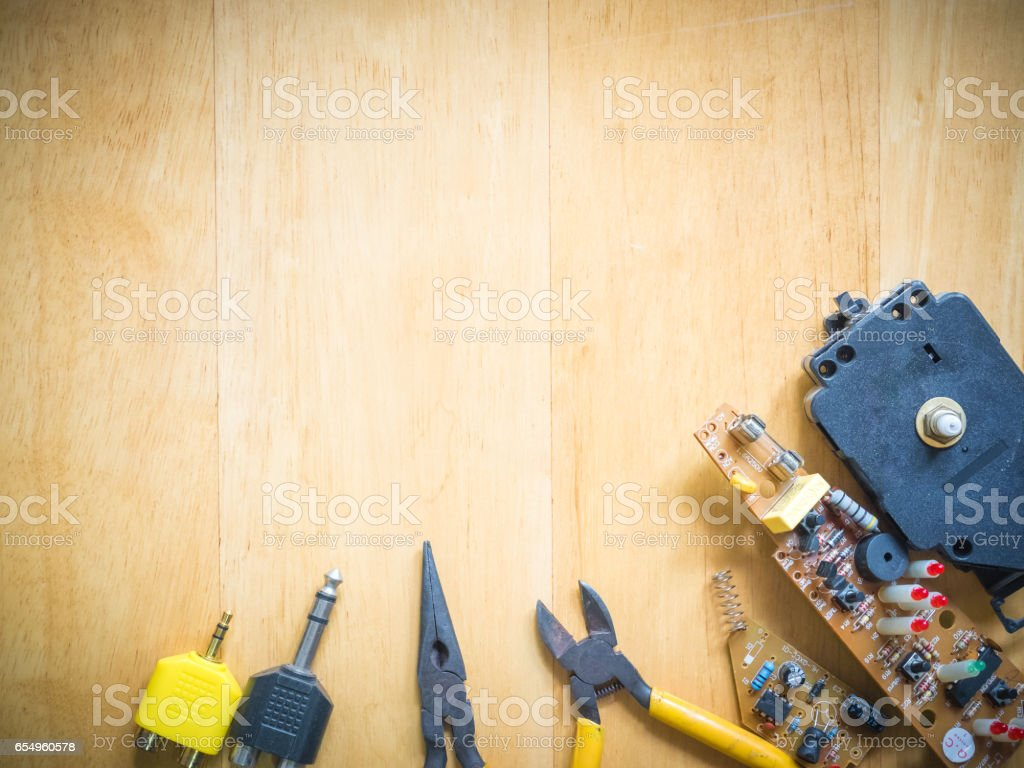 set of electronics and equipment support engineering activity stock photo