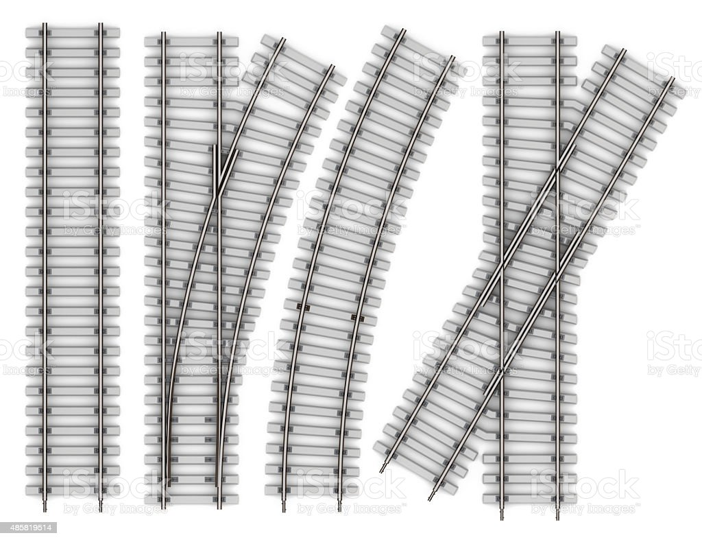 Set of Elements of rails isolated on white background vector art illustration