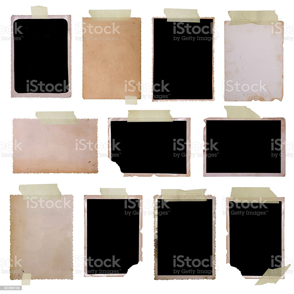 Set of eleven vintage photo frames on white background royalty-free stock photo