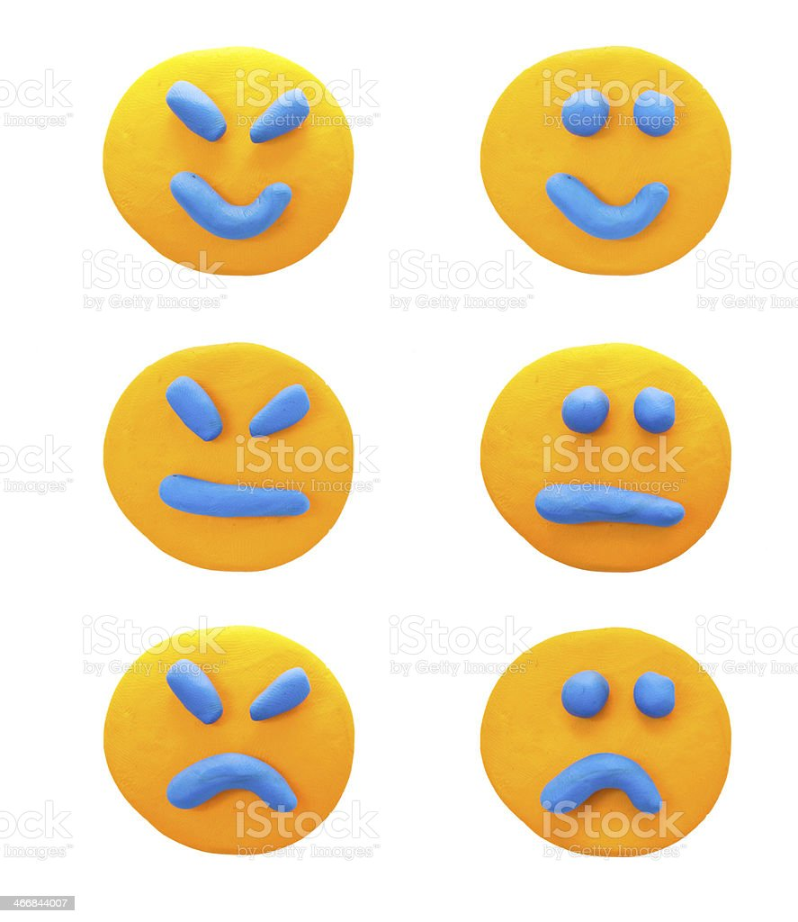 set of emotions with  plasticine clay. royalty-free stock photo