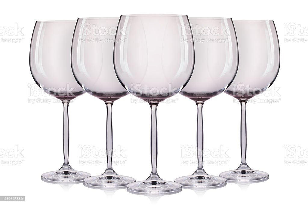 Set of empty wine glass. isolated on a white background stock photo