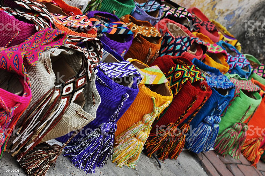 Set of ethnic colorful beautiful bags royalty-free stock photo