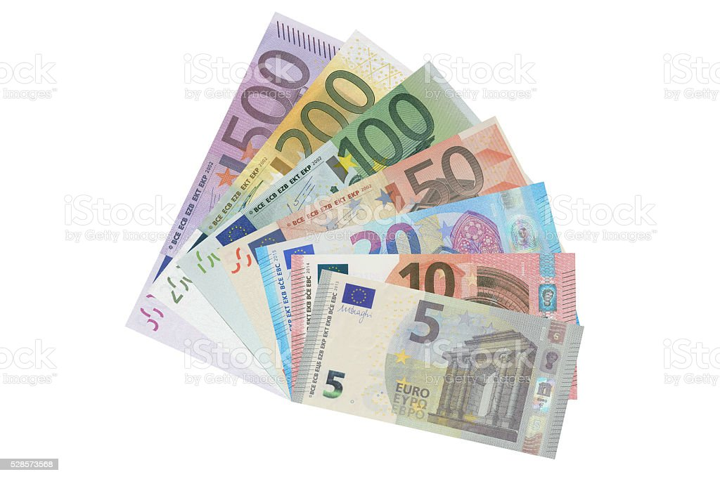 set of Euro banknotes, 3D rendering stock photo