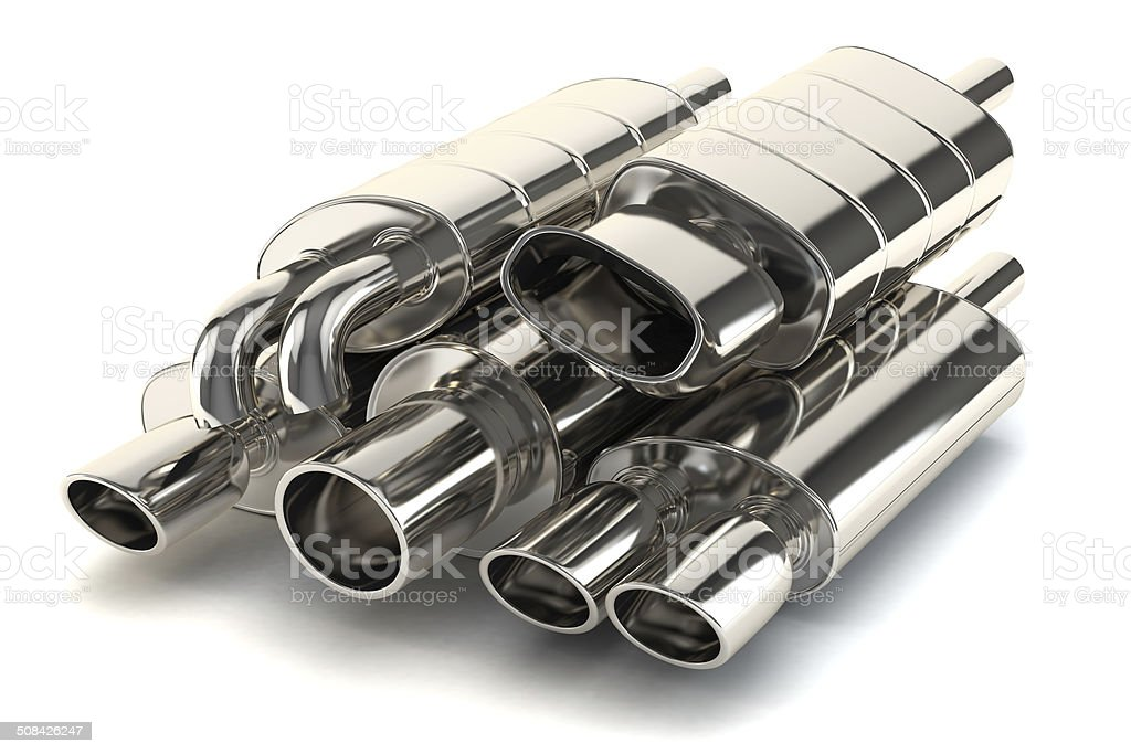 Set of exhaust pipes stock photo