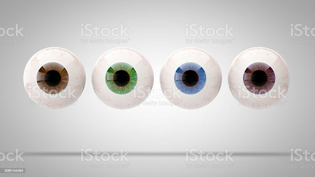 Set of eye balls isolated (4 colors) stock photo