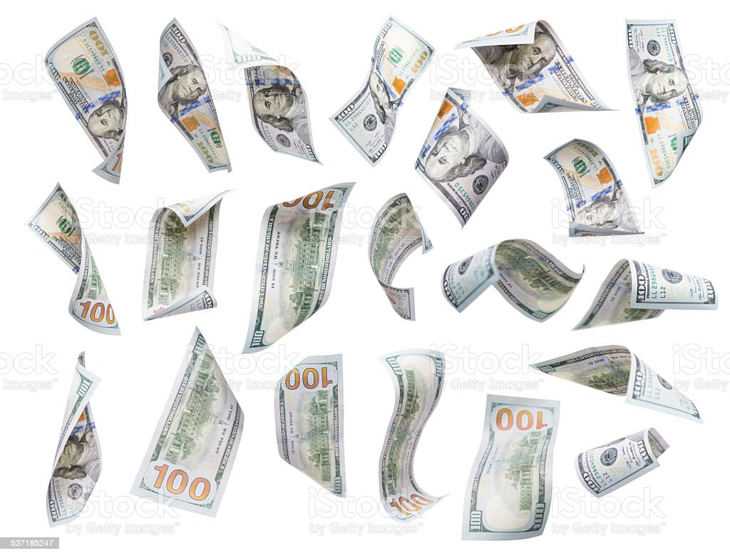 Set of Falling or Floating $100 Bills Each Isolated stock photo