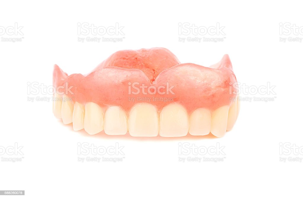 Set of false teeth stock photo