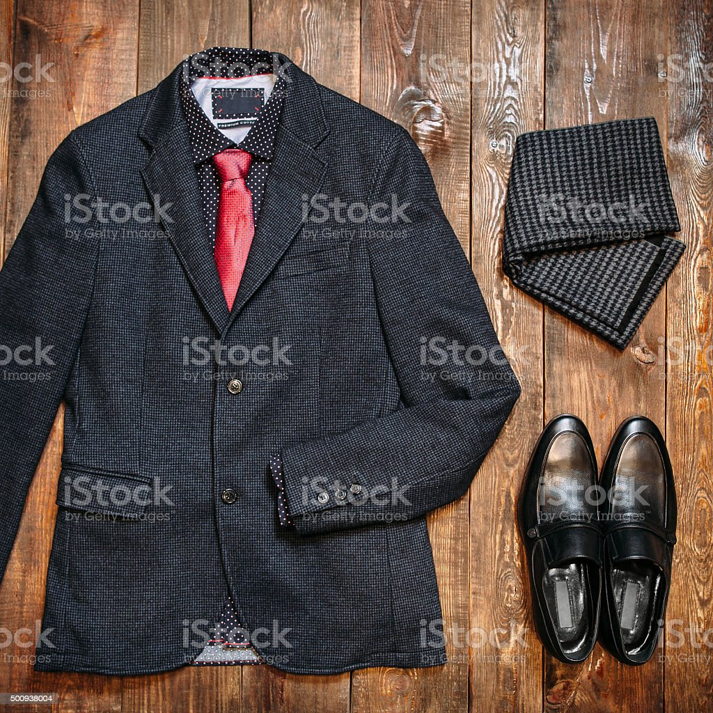 Set of fashionable business clothes for men stock photo