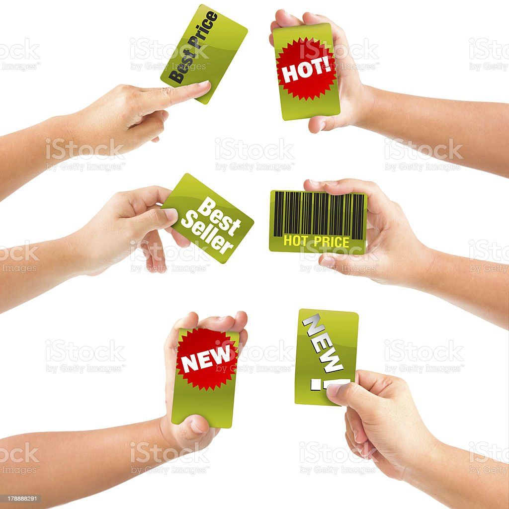 Set of female hand holding a card royalty-free stock photo