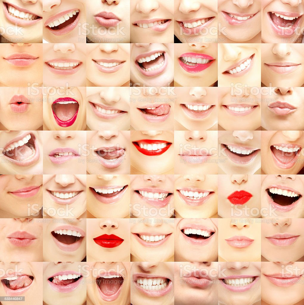 Set of female lips stock photo