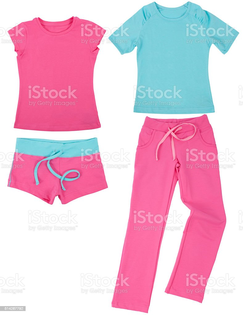 Set of female sportswear. Isolated on white background stock photo