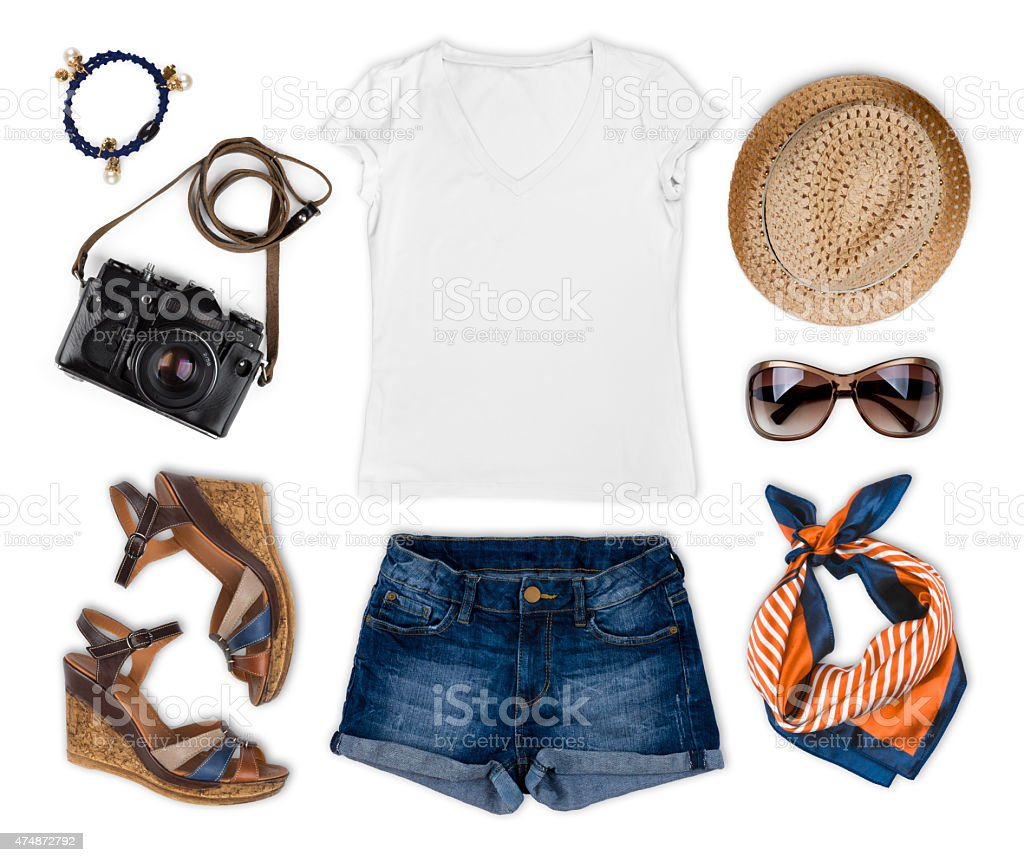Set of feminine tourist summer clothing isolated on white stock photo