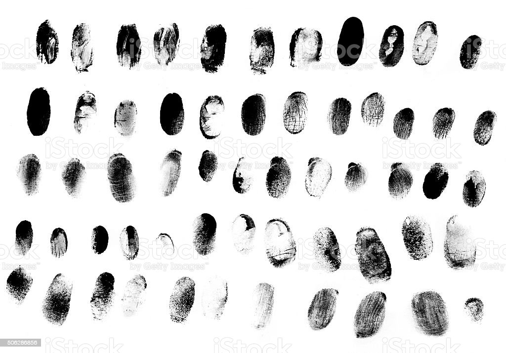 Set of fingerprints black on white stock photo