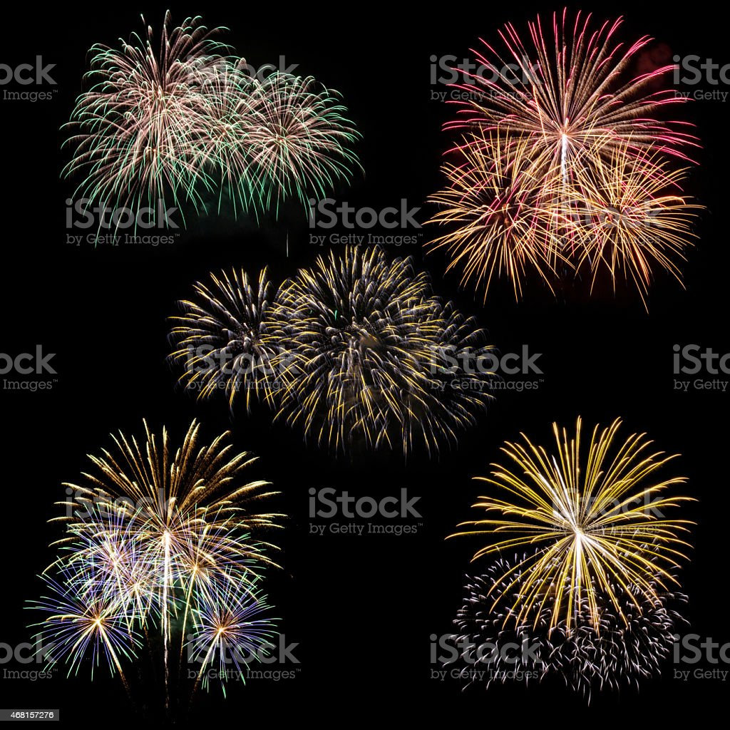 set of fireworks isolated stock photo