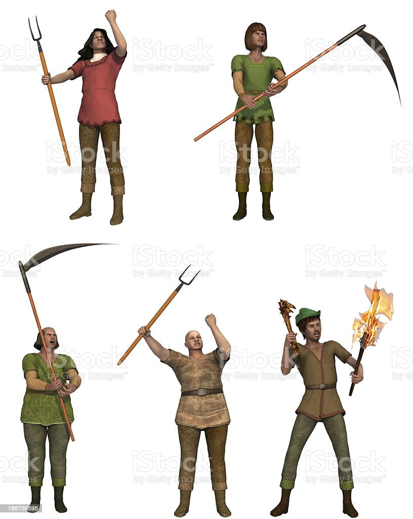 Set of five angry villagers with pitchforks stock photo