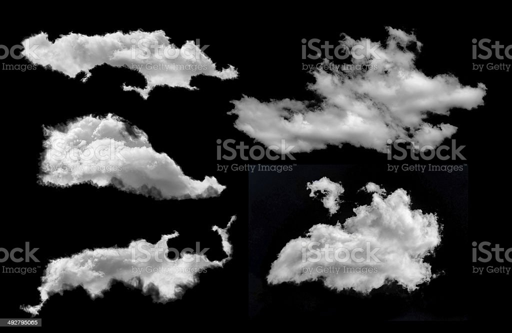 set of five clouds isolated on black stock photo