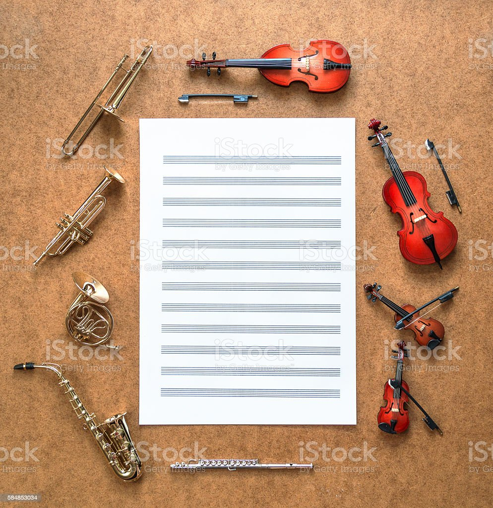 Set of five golden brass wind and four string musical stock photo