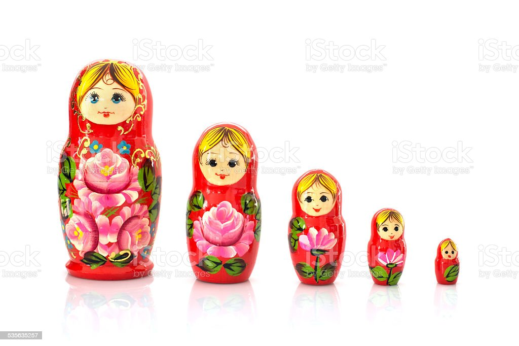 Set of five matryoshka russian nesting dolls stock photo