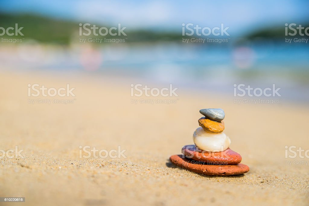 Set of five stones on top of each other Zen stock photo