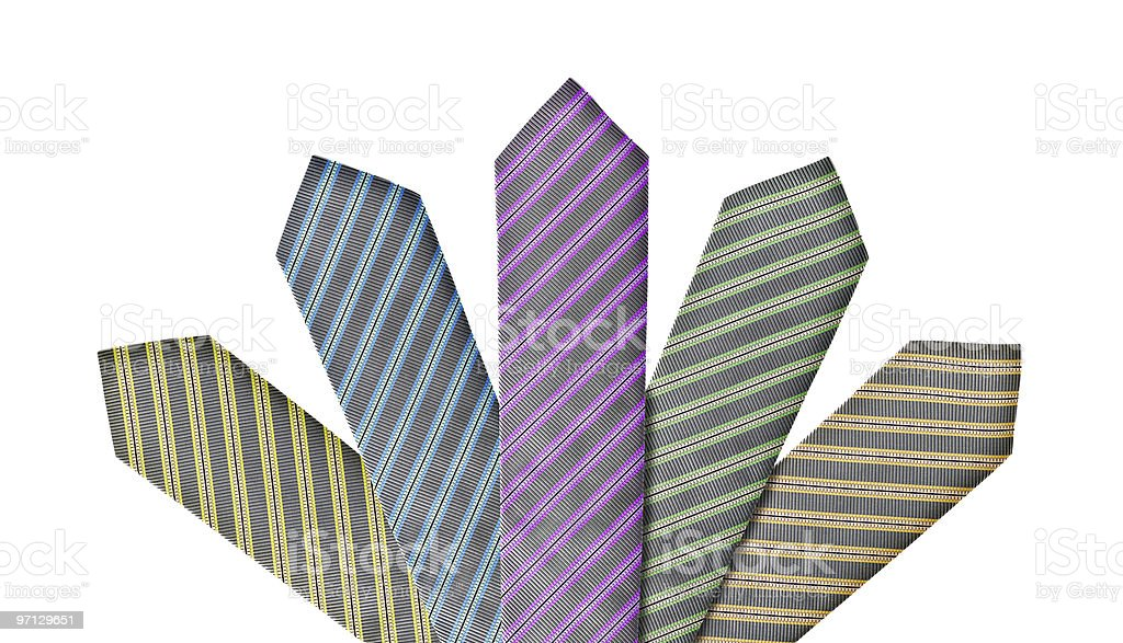 Set of five ties in different colors royalty-free stock photo