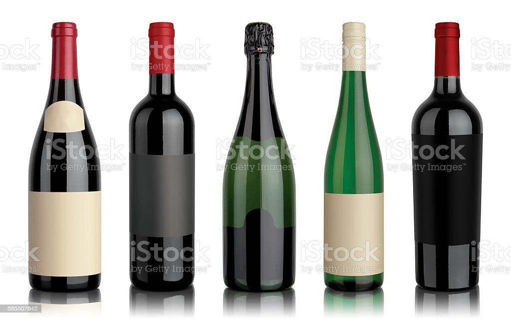 Set of five wine bottles stock photo