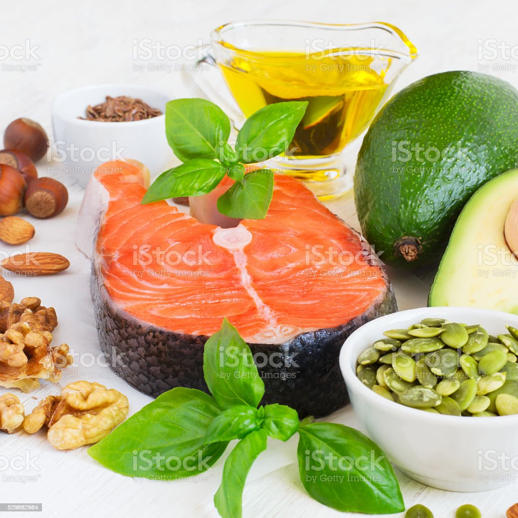 Set of food with high content of healthy fats stock photo