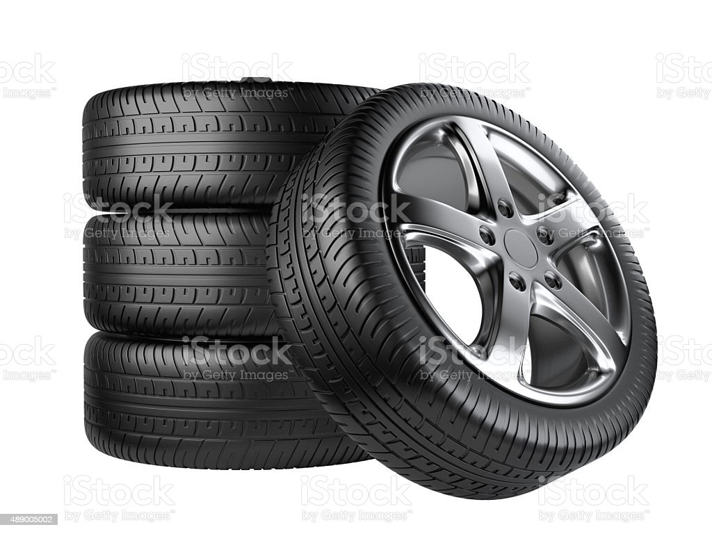Set of four car wheels front view stock photo