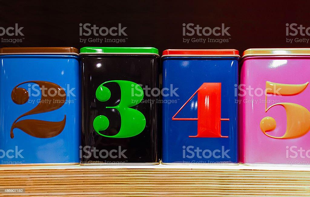 Conjunto de quatro caixas coloridas foto royalty-free