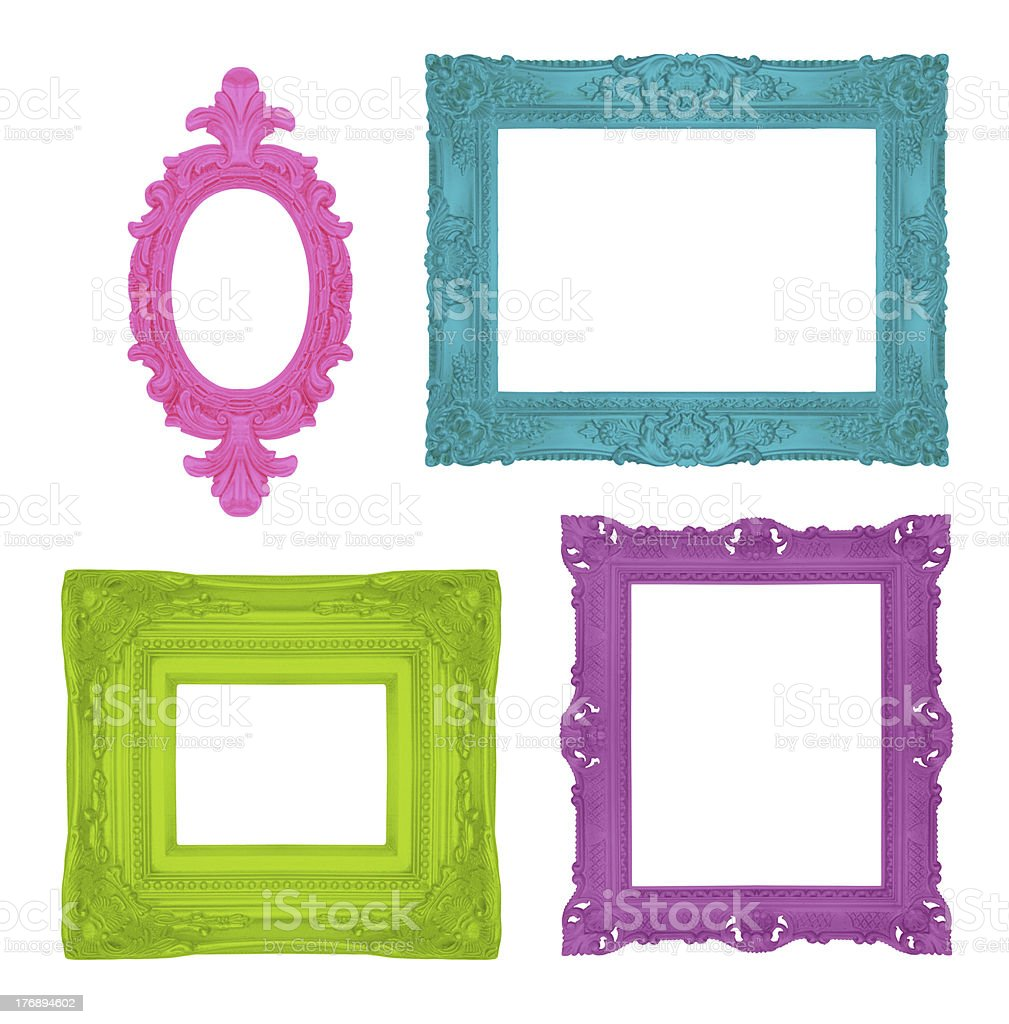 Set of four colorful frames in orange, blue and purple stock photo