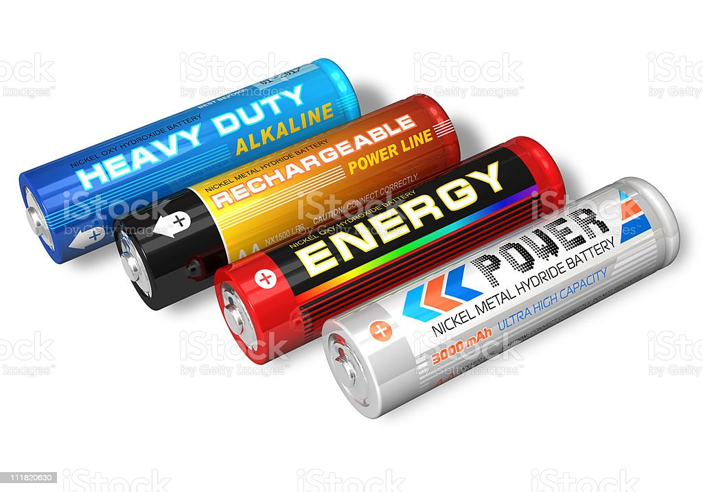 Set of four different AA batteries stock photo