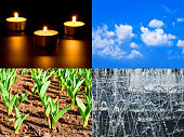 Set of four elements fire, air, ground, water