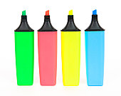 Set of four highlighters on white background