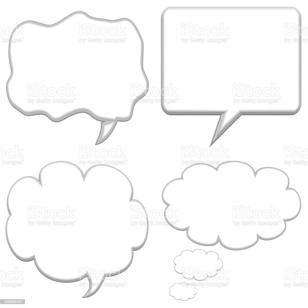 Set of four large speech bubbles stock photo