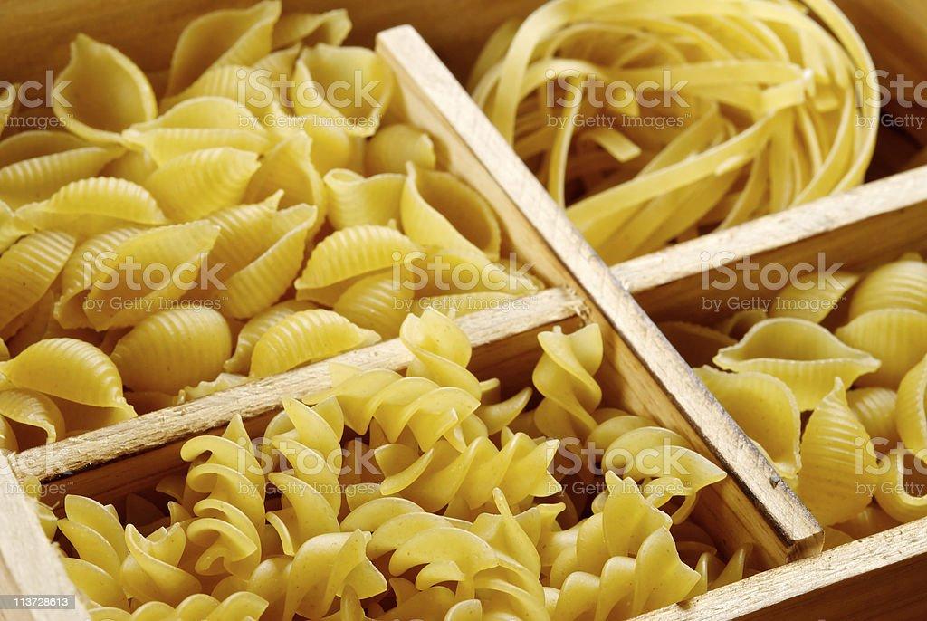 Set of four pasta varieties royalty-free stock photo
