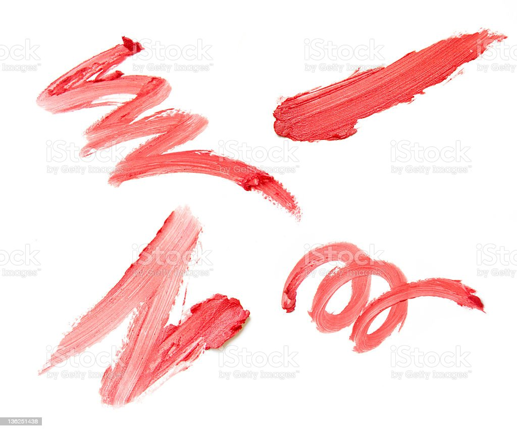 Set of four red lipstick smears on white background stock photo