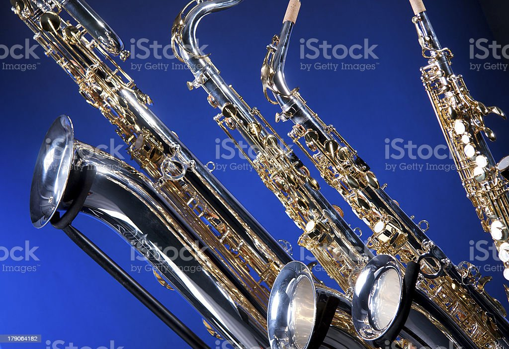 Set of Four Saxophones stock photo